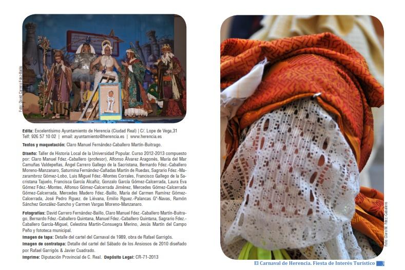 Página de Créditos de la Guía turística del Carnaval de Herencia
