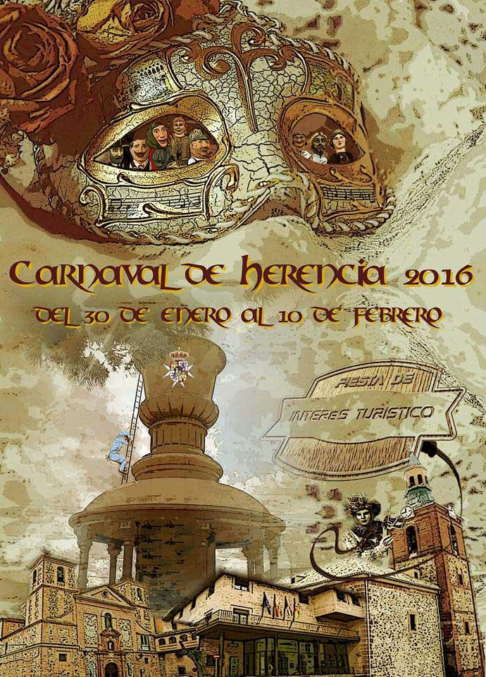 Cartel oficial del Carnaval de Herencia 2016 obra de Mercedes Corrales García-Navas