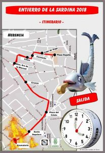 Recorrido Entierro de la Sardina 2018 del Carnaval de Herencia